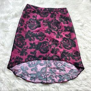 Maurice's Floral Taffeta Midi Skirt Hi Lo 20W Plus